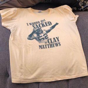 Women's M clay Matthews funny shirt euc